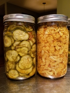 Bread 'n' Butter Pickles and Pickled Cauliflower