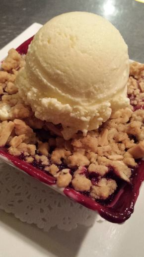 Blackberry - nectarine crisp with corn crisp